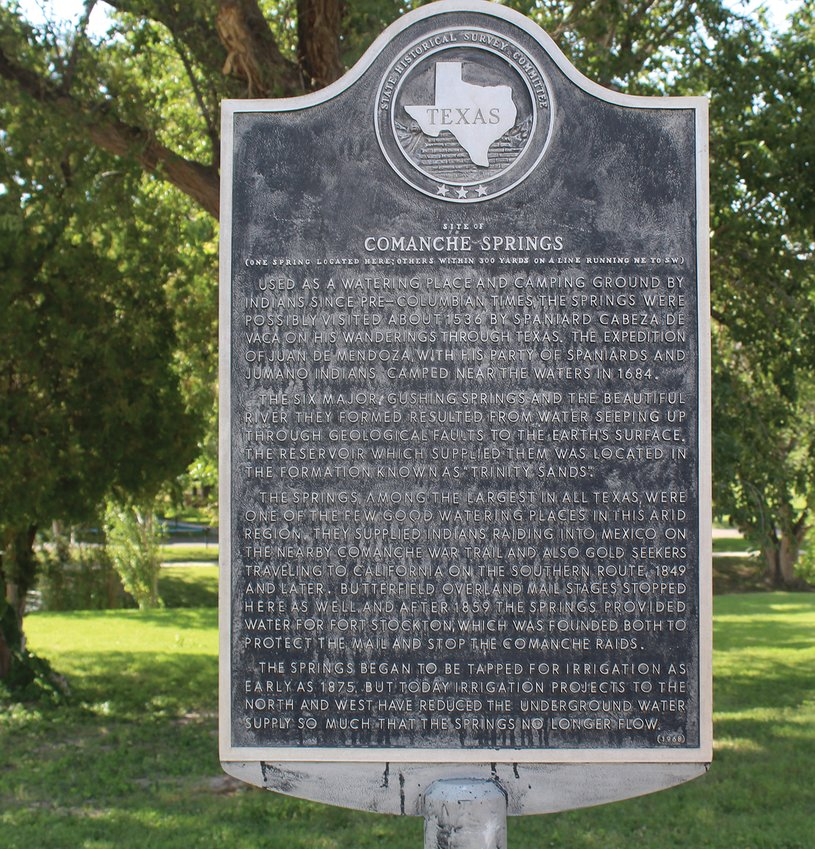 One of the historical markers put up by the Pecos County Historical Commission is at the entrance to Rooney Memorial Park.