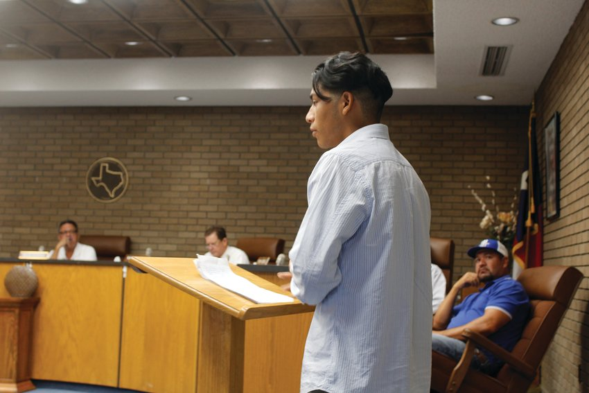 Fort Stockton High School senior Rocky Rios asked the school board to switch back to an open campus, which would allow students to leave the school for lunch.