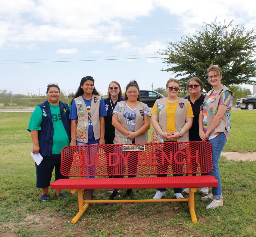 Some of the girl Scouts from Troop 36188 who dedicated the buddy bench at Apache Elementary School.