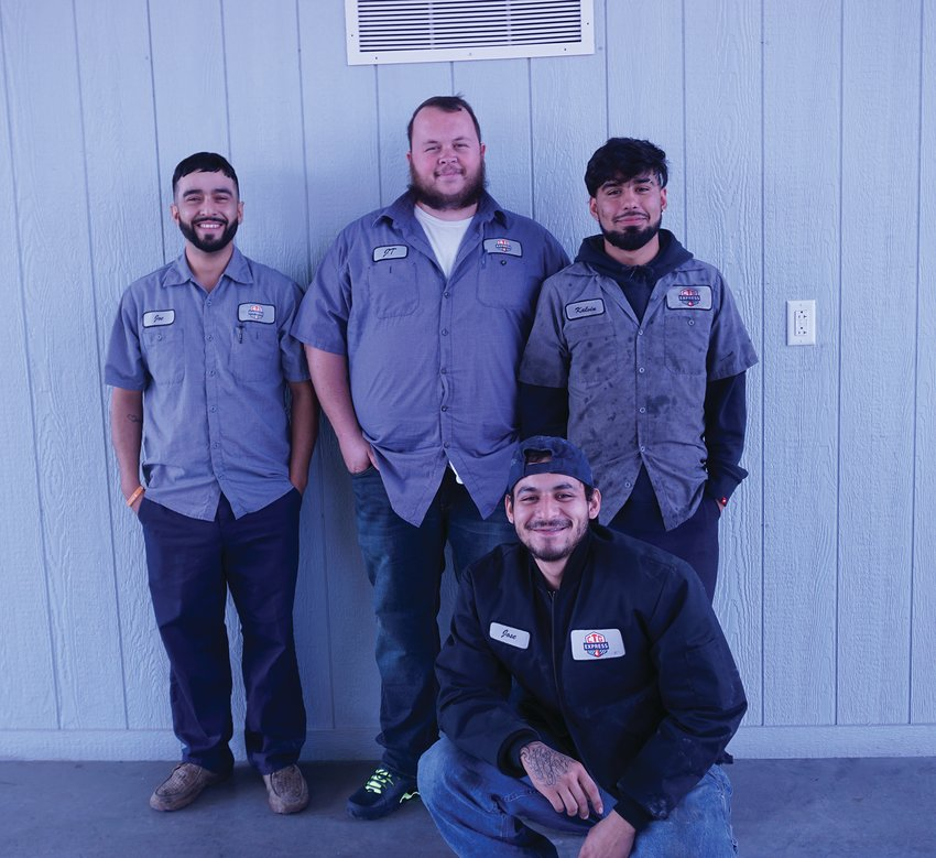 Employee James Teague, Jose Renteria, Kalvin Hernandez and Joe Mar make up the Fort Stockton location of CTG Express Fluid Services.