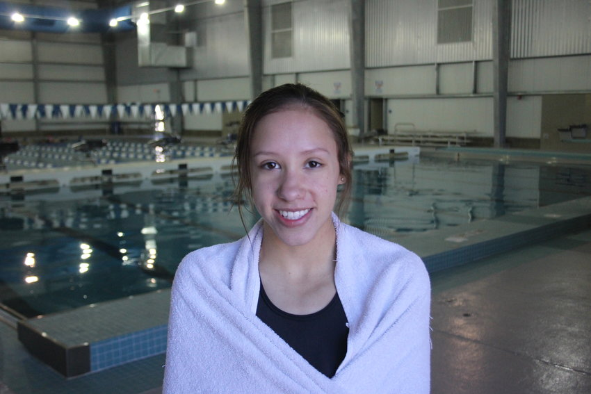 Sophomore Leslie Esquivel has already records three meet wins in diving this season. (Steve Fountain)