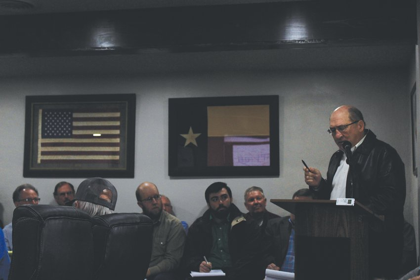 Kirby Warnock spoke to the water board about his concerns with drilling excess wells in the 7D area.