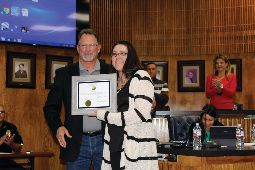 "Marina Cantu, right, was sworn is as City Secretary by Fort Stockton Mayor Chris Alexander on Jan. 28. ""You've done an outstanding job,"" Alexander said."