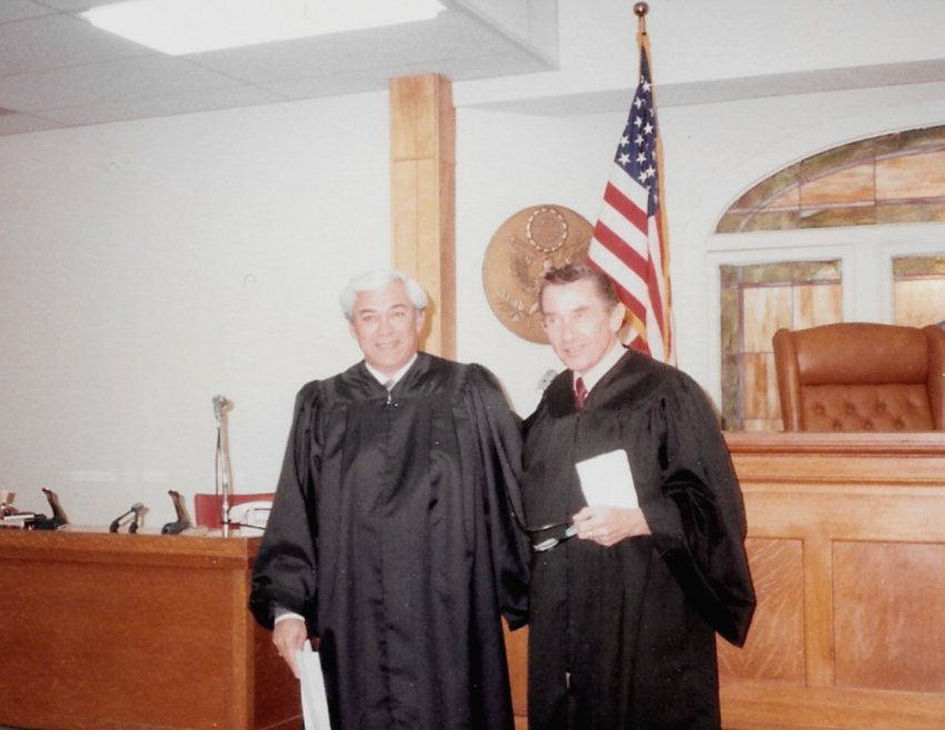 Alex R. González, left, was sworn as 83rd District Court Judge on Feb. 1, 1984 by 143rd District Judge Larry Fuller.
