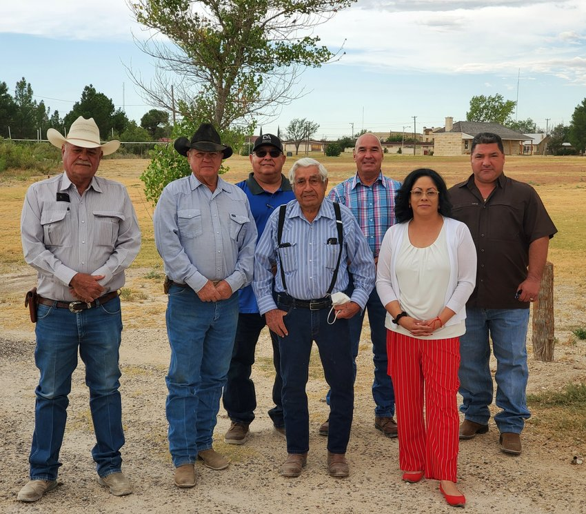 The Pecos County Historical Commission and the Fort Stockton Historical Society have been working to restore certain sites in town. Members involved in the works include (from left to right): Pecos County Historical Commission President Ernest Woodward, M.R. Gonzales, Precinct 2 Commissioner Robert Gonzales, Bob Hayter, contractor Bruce Moore, Director Melba Montoya, and City Manager Frank Rodriguez.