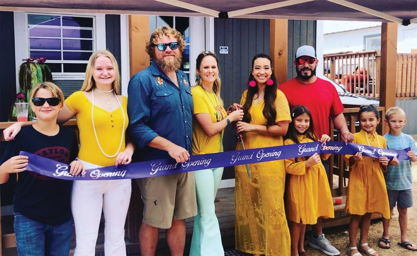 The Purple Cactus held its grand opening and ribbon cutting ceremony on Saturday, Sept. 5 in Sheffield. From left to right: A.J Klassen, Chastity Klassen, Mike Klassen, Kamie Klassen, Tiffani Rodriguez, Marco Rodriguez, Morgan Ortega, Madison Ortega, Michael Takeda.