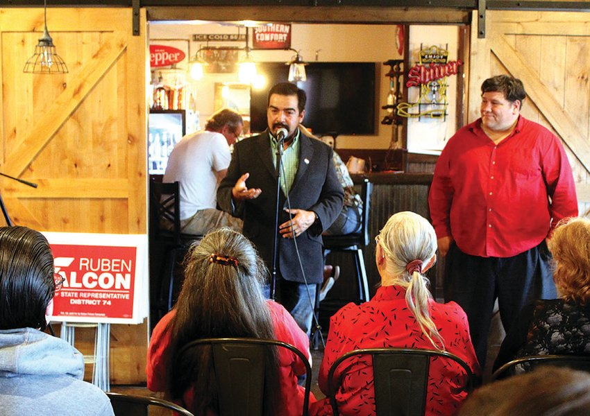 State congressional candidate Ruben Falcon speaks to a group of approximately 20 people on Tuesday, Sept. 15 at Sagebrush Café & Gifts during the Pecos County Republican Party Meet and Greet.