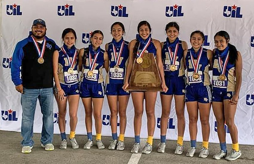 The Buena Vista girls cross country team pose for a photo on Monday, Nov. 23 after placing third as a team in Class 1A at the state cross country meet in Round Rock, Texas.