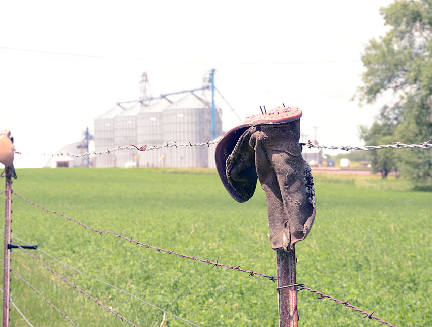 """The sight of worn-out cowboy boots nailed to fenceposts is not an unusual sight in farm country.  We might encounter a random lone boot nailed to a fence in the middle of nowhere, or there might be a long row of them — like the one on First Street in De Smet.  There are several theories about why someone would nail old boots to a fencepost. One story says a deceased friend or family member's boots are nailed """"sole up"""" to a fence so his soul goes to Heaven.  Practical reasons might have been to protect wooden fence posts from rotting from the rain, or that the lingering foot smell might keep coyotes away from livestock in the field. My theory is they do it to make city folks wonder."""