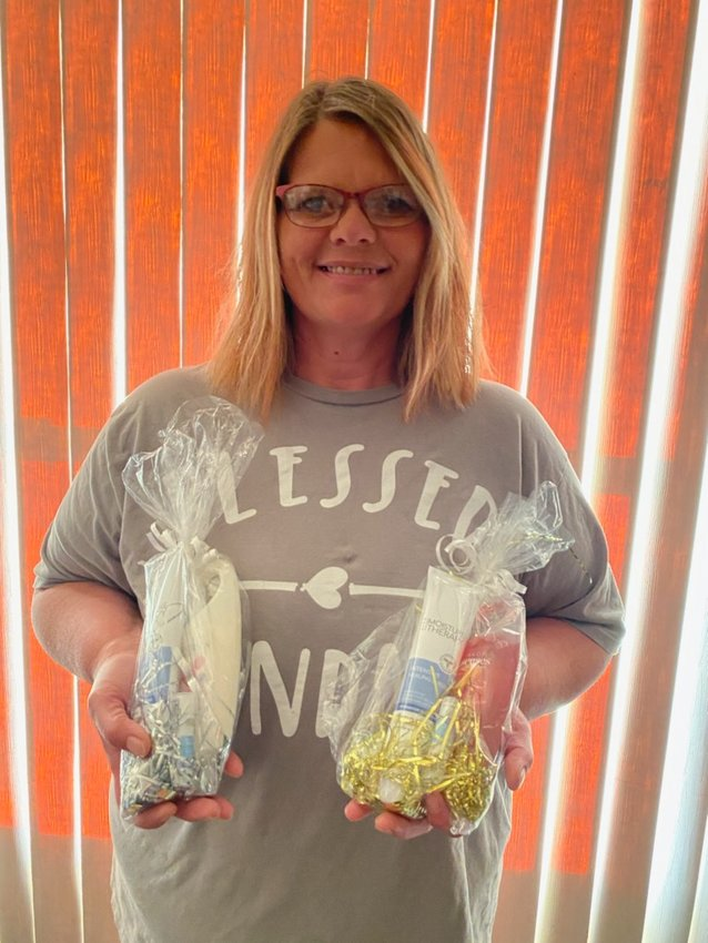 Larcia Hofhenke of Iroquois is doing her part to help medical professionals at the Huron Regional Medical Center by putting together gift bags filled with skin care products.