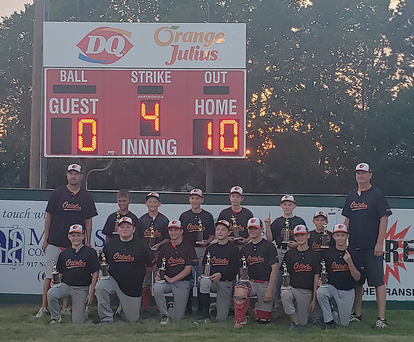 Madison 12 and under baseball teams wrapped up their season recently when the Madison Orioles defeated the Madison Cardinals 10 to 0 at Field of Dreams. Oldham-Ramona students Caleb Fischer, sixth from left, rear, and Brennon Bickett, second from left, front, played for the Orioles.
