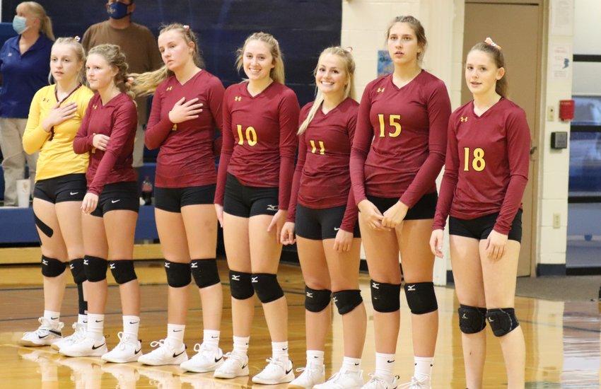 The Lady Bulldogs' team consist of Riley Myers, left, Katelyn Halverson, Olivia Johnson, Cori Birkel, Emma Albrecht. Kennadi Buchholz and Ella Poppinga.