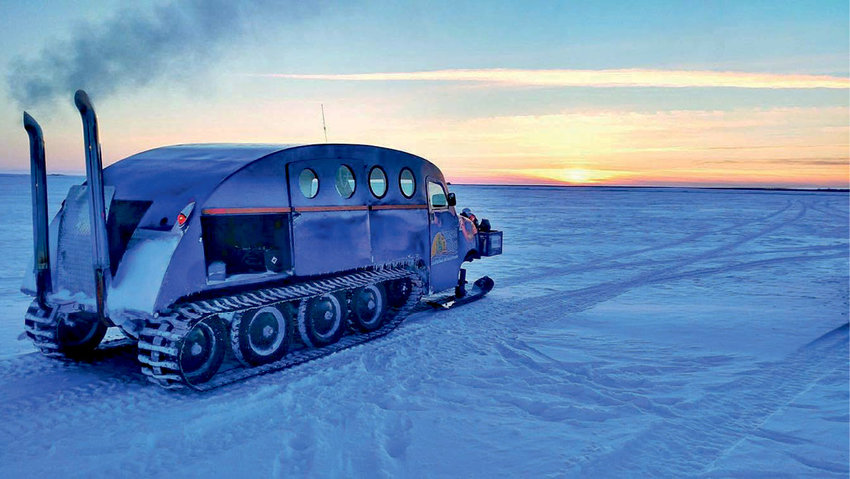 """The Bombardier or """"Bomber"""" is the perfect way to move ice fishermen and their gear around Lake of the Woods."""
