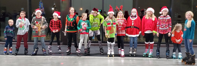 A Christmas sweater party was held at the De Smet Event & Wellness Center last Friday night, where a whole group of youth dressed up in their holiday wear. Winning in the boys category was Miles Albrecht, and Haley Lee won in the girls category.