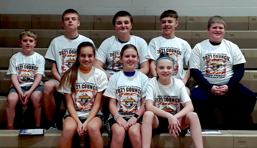Winners of the De Smet Knights of Columbus Free Throw Contest on Jan. 10 include Vincent Larson, age 9, rear left; Edger Wilkinson, 14; Grant Wilkinson, 13; Slayton Wilkinson, 12; and Trace Rowcliffe, 11; Mirra Beck, 14, front left; Savannah Larson, 11; and Charli McCune, 12. The site and date of the District Competition has yet to be determined.
