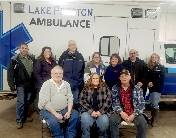 The Lake Preston Ambulance Crew consists of Scottie Hojer, back left, 6 years, Amber Nelson 1 year, Dave Schmidt 28 years, Linda DeMarteleare7 years, Rhonda Thull 6 years, Shane Waikel 6 years, Bonnie Nelson 20 years LP and 9 in Arlington before that, Joe Schnell, front right, 38 years, Monica Wilde 20 years, and Jim Wilde, 20 years.