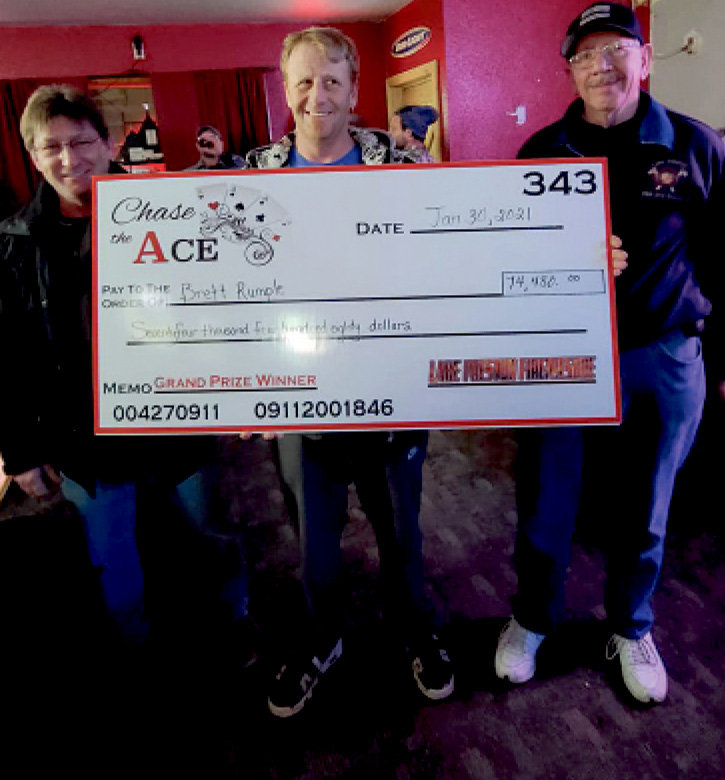 """Brett Rumple, Arlington, drew the ace of spades on Saturday night at the New Horizon Lounge, winning the pot for Chase the Ace which ended up being $74,480. Over the course of the game, the Lake Preston Vol. Fire Department gave away over $92,000 to the weekly winners. """"We cannot thank the community, the workers, spouses and friends enough who have lent a helping hand to make this fundraiser such a success!"""" says Josh Buer. A new pot will start out at $5,000 on Saturday at the New Horizon Lounge."""