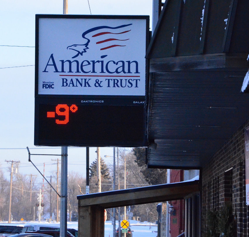 After several months of milder than normal winter weather, this area was hit with below zero temperatures last weekend. On Monday morning, the thermometer at American Bank & Trust registered -9. Temperatures are expected to remain in the negative digits through Feb. 14, with the coldest temperatures predicted on Saturday — a high of -6 and a low of -22. The windchill could make it feel even colder.