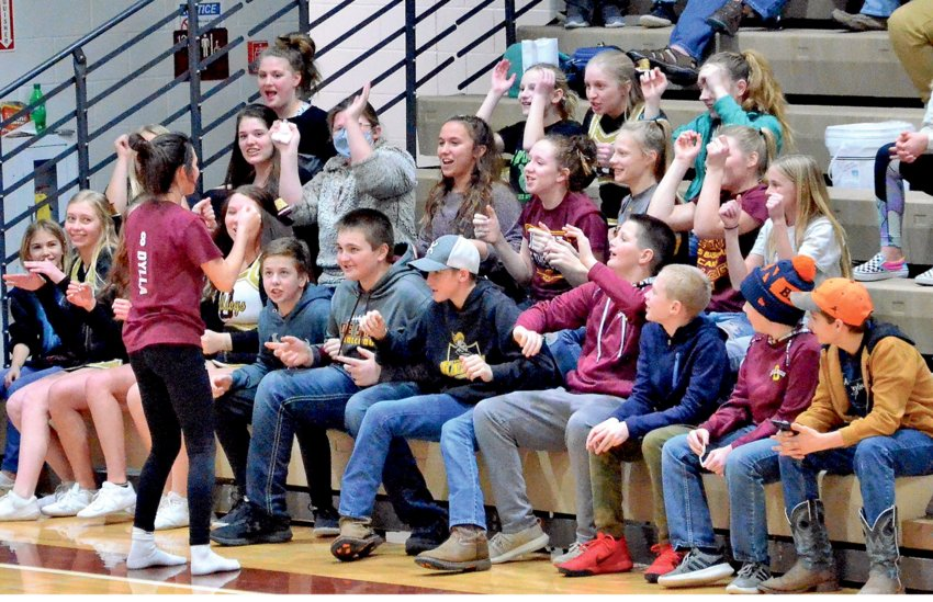 Megan Dylla gives the cheerleaders a break as she fires up the student body Monday during the De Smet boys home basketball game against Castlewood.