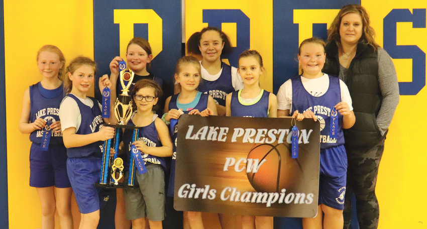 The Diver girls elementary basketball team beat Estelline 21-16 and Arlington 23-14 to win the 2021 PCW tournament on Saturday. Pictured from left to right are Alise Hope, Allie Curd, Kinley Root, Mary Unruh, Leigh Hansen, Rhyann McGuire, Khloe Olson, Bentlee Holt and Coach Corrie Walter.