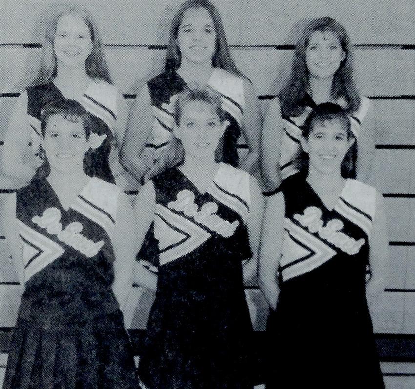 TWENTY-FIVE YEARS AGO: Bulldog cheerleaders Meridith Geyer, rear left, Vicki Wilkinson and Kim Burgers; Sara Geib, front left, Britanni Janssen and Leah Twite.