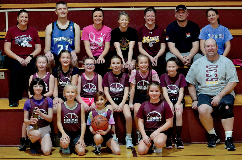 The fourth grade girls basketball team took on their parents in a game on Sat., Feb. 20. The girls were victorious, though the parents managed to pull off some good moves, all things considered. The season wraps up this week. Back row:  Melissa Framstad, Mike Luethmers, Jennyw Albrecht, Coach Becky Albrecht, Dru and Brad Hunt and Amanda Fields. Middle row: Vada Albrecht, Kate Framstad, Lyla Schoenfelder, Emery Hunt, Megan Albrecht, Tatymn Driscoll and Harvey Hubbard. Front row: Lanie Hubbard, Gemma Luethmers, Eva Fields, Amanda Dylla (not pictured: Arora Paez-Cook)