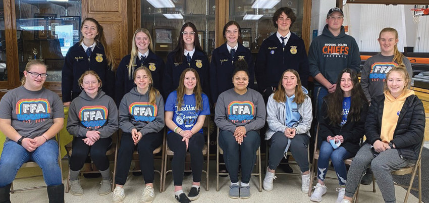 Iroquois FFA Members hosted a Community Breakfast on Sat., Feb. 20. They served over 75 meals consisting of pancakes, bacon, sausage, fruit and beverages. Members serving include (front row left to right) Kali Burma, Natalie Cundy, Becca Bich, Jorja Huls, Satoya Myers, Celeste Borgan, Shelby Pekron, Kera Dubro (back row left to right) Katie Dubro, Kaylee Morehead, Sierra Kogel, Harley Nelson, Logan Pekron, Damon Froke and Lexi Burma.