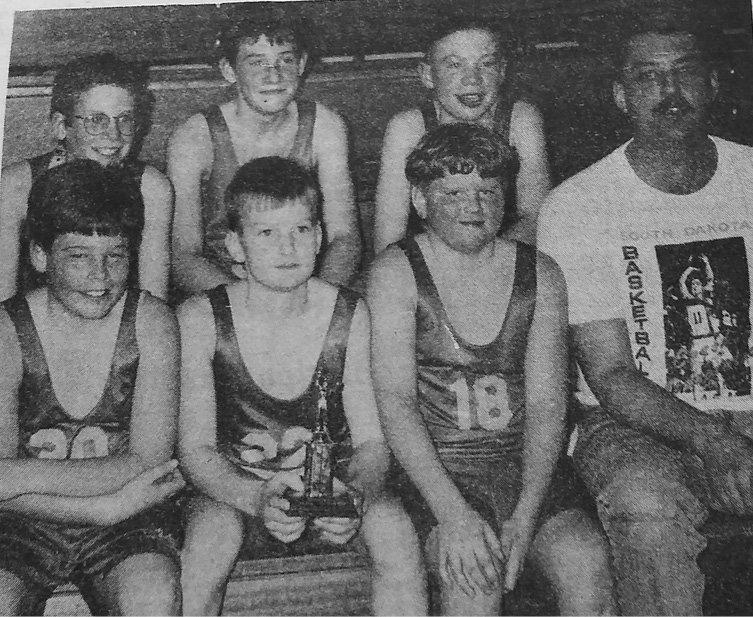 TWENTY-FIVE YEARS AGO: The Lake Preston 5th graders finished their basketball season with a 13-2 record winning 1st place in the Lake Preston and Arlington tourneys. Members are Matt Paul, Phil Warne, Ryan Klinkel, Jorden Jacobsen, Jake Smith, Corey Nelson and Coach Paul Casper.