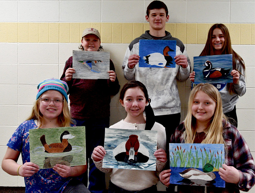 This group of students placed in the annual South Dakota Junior Duck Stamp competition. Chauncey Driscoll, back left, - 7th Grade - HM in Grp 3, Griffin Clubb - 10th grade - HM in Grp 4, Mirra Beck - 8th grade - 3rd in Grp 3,  Sophia Gigov, front left, 6th Grade - HM in Grp 2, Jordyn Gilligan - 6th grade - 1st in Grp 2 and Erica Johnson - 6th Grade - HM in Grp 2.
