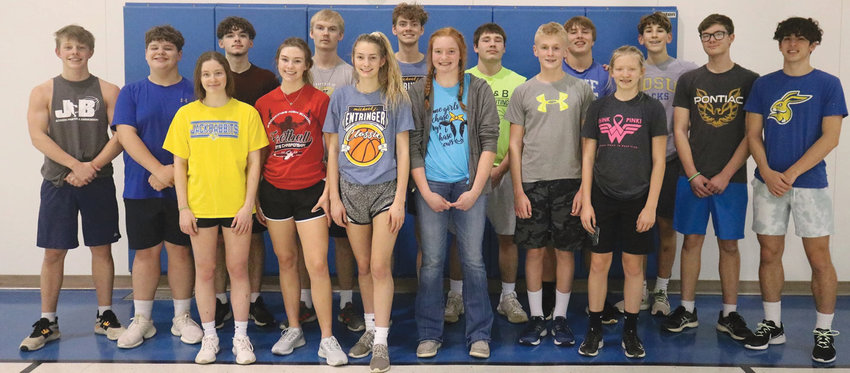The Lake Preston Track and Field team has been busy practicing and competing for a couple weeks now. On the team this year is Jake Larsen, back left, Ryne Greene, Ashton Wienk, Tyler Jurrens, Rhett McMasters, Chris Tvinnereim, Jonah Denison, Bergen Woodcock, AJ Wienk and Josh McMasters. Front row is Madison Perkins, left, Morgan Curd, Stella DeKnikker, Hadlee Holt, Payton Hope and Amelia Holland. They are coached by Tonya Bumann.
