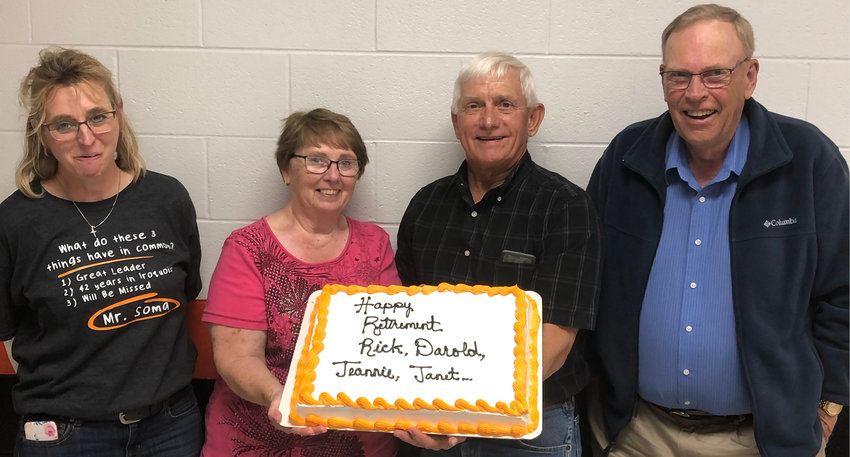 Jeannie Miller, left, Janet Ninas, Darold Rounds and Richard Soma are all retiring after a combined 122 years in education, 88 in Iroquois.