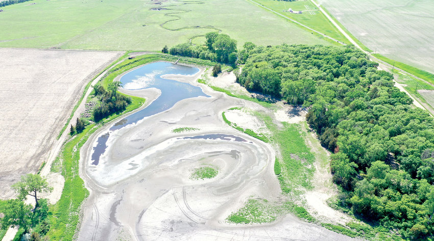 An eagle's view of Lake Osceola since the lake has been drained this year. Improvements to the recreational area and the lake and dredging four feet of silt still needs to be completed.