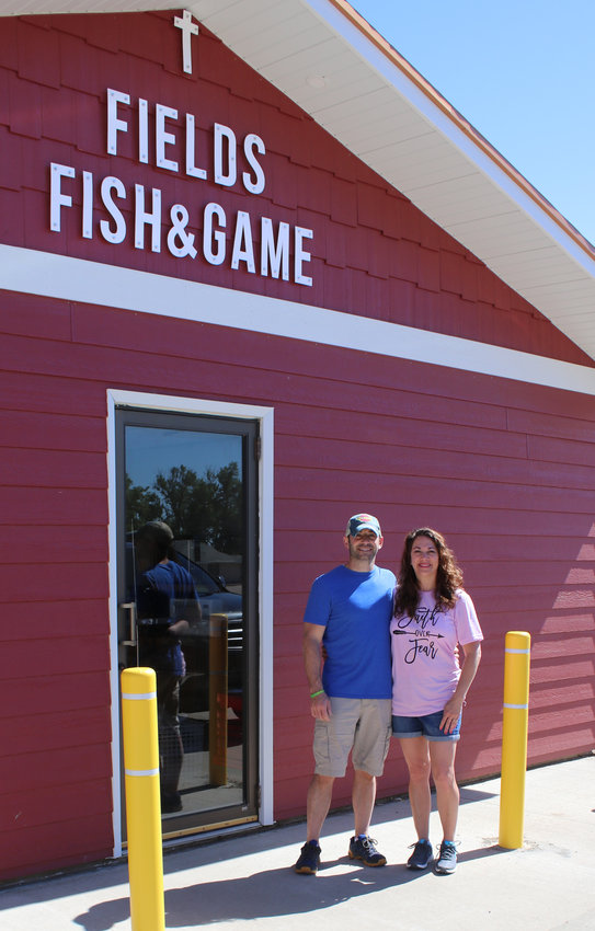 David and Amanda Fields officially opened their store, Fields Fish and Game on Monday. The store will cater to the outdoor enthusiast. From fishing, bait, hunting, bows, firearms, ammunition, licenses, ice and drinks, they have you covered. The store is located at the intersection of Highways 25 and 14 behind Dakotaland.
