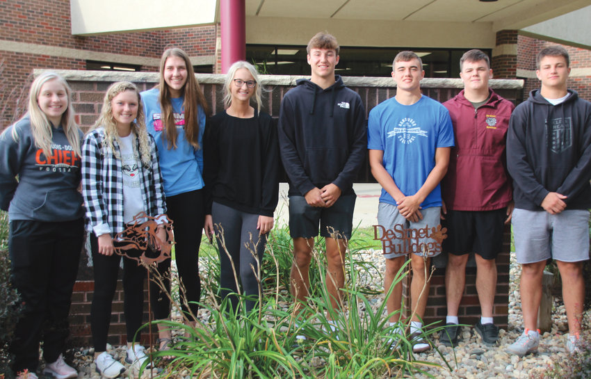 The 2021 DHS Homecoming Court includes candidates Riley Myers, left, Katelyn Halverson, Kennadi Buchholz, Camryn Schmidt, Kalen Garry, Rett Osthus, Cody Aughenbaugh and Colt Wilkinson. Coronation will be Thurs., Sept. 23 at 7:30 p.m.  The Homecoming game puts the Kimball/White Lake WiLdKats challenging the De Smet Bulldogs at Wilkinson Field, Fri., Sept. 24 at 7 p.m.