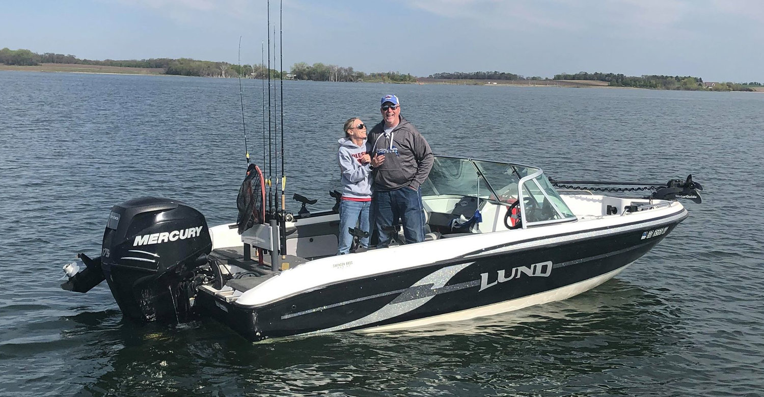 Jim Girard and his wife on one of their first trips of the open water fishing season.