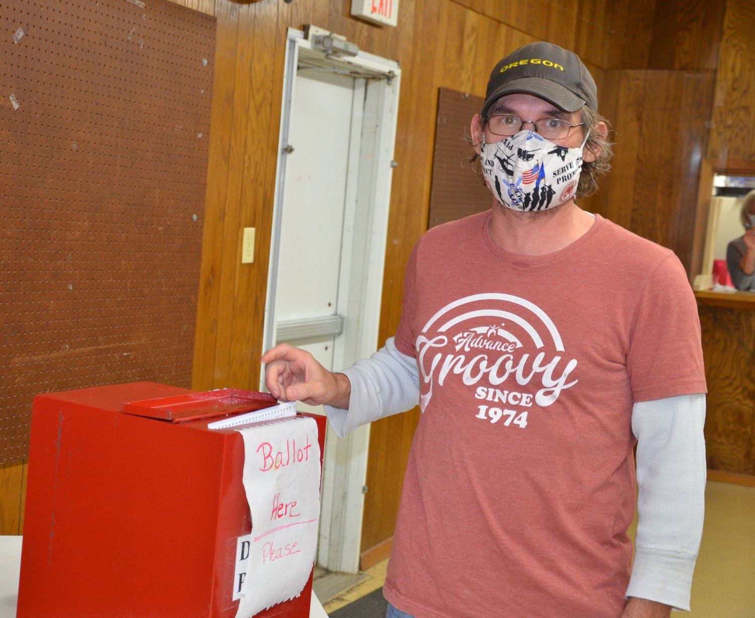 Anthony Henderson casts his ballot Tuesday at the  4-H building in De Smet.