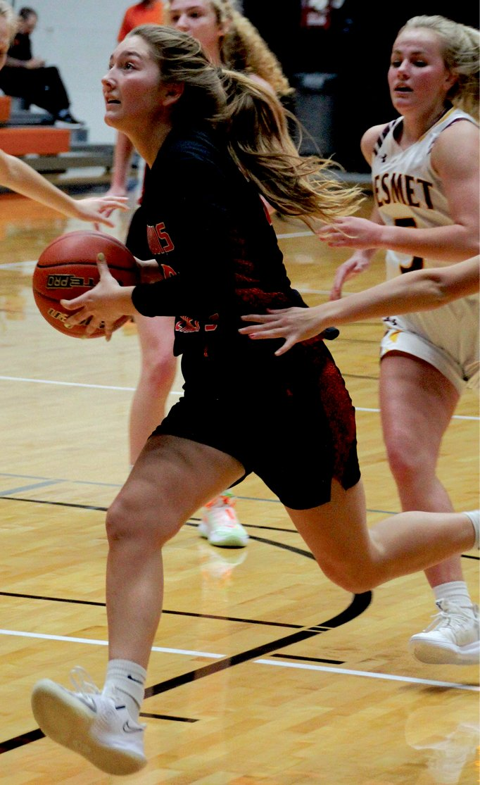 Junior Katie Dubro drives for a layup at the Huron Holiday Classic.