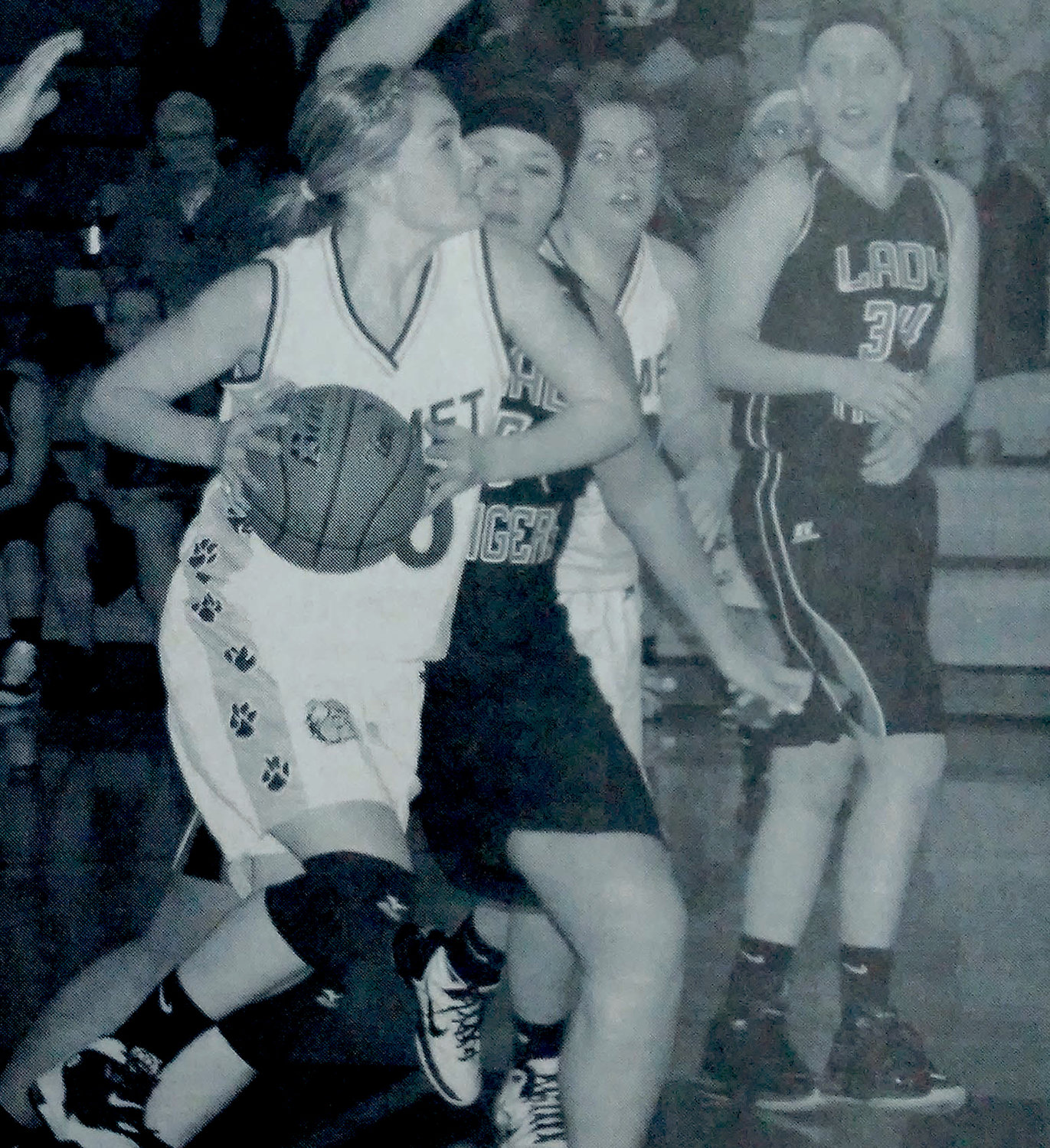 TEN YEARS AGO: The Lady Bulldogs soundly defeated the Howard Tigers Jan. 11 with a final score of 80-28. Grayson Gruenhagen steals the ball and flies by the Lady Tigers to make another shot. Gruenhagen was one of the top scorers for De Smet with 10 points.