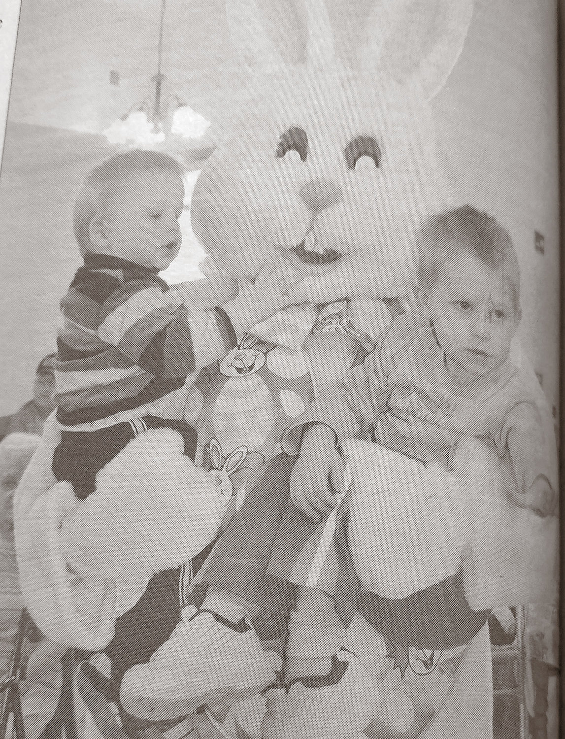 TEN YEARS AGO: Kameron and Kade Hauck visist the Easter Bunny at the Silver Plains Assisted Living.