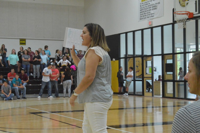North Zulch women's basketball coach Kim Branch patrols the sidelines during the volleyball season.