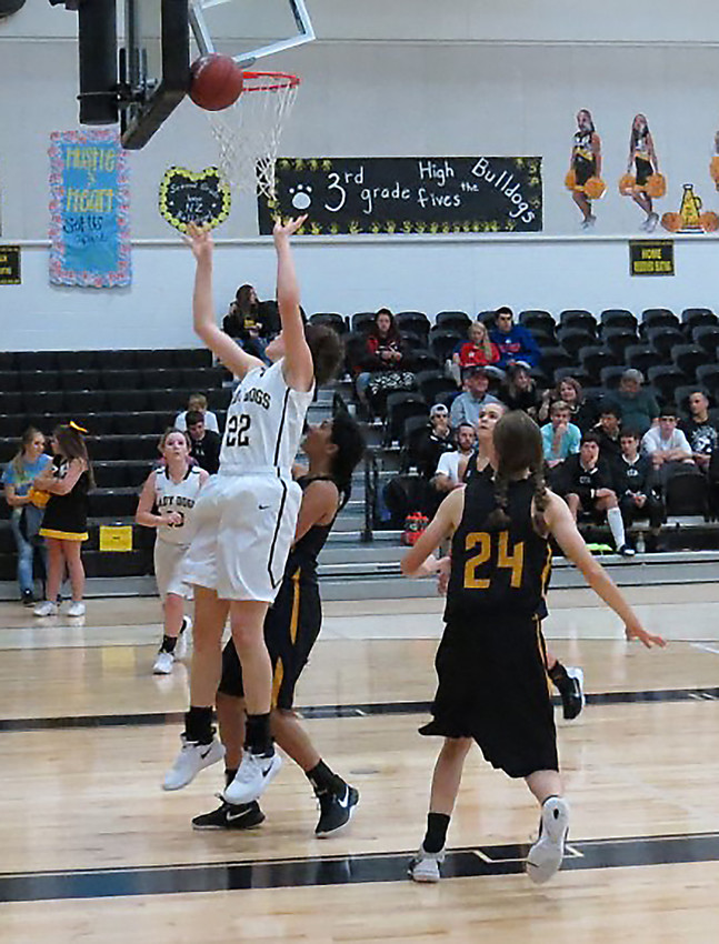 North Zulch senior Sally Osth goes up for the rebound during the school's tournament over the weekend.