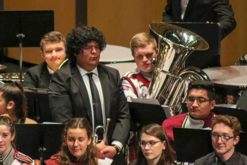 Mustang band member Jonathan Palomino awaits direction during the 4A All-State band concert at the Texas Music Educators Association Convention in San Antonio.
