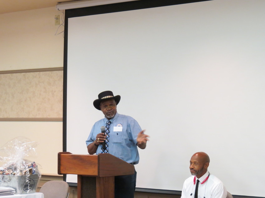 Steven Green, President of the NAACP in Madisonville, speaks at the Kimbro Center on Saturday night.