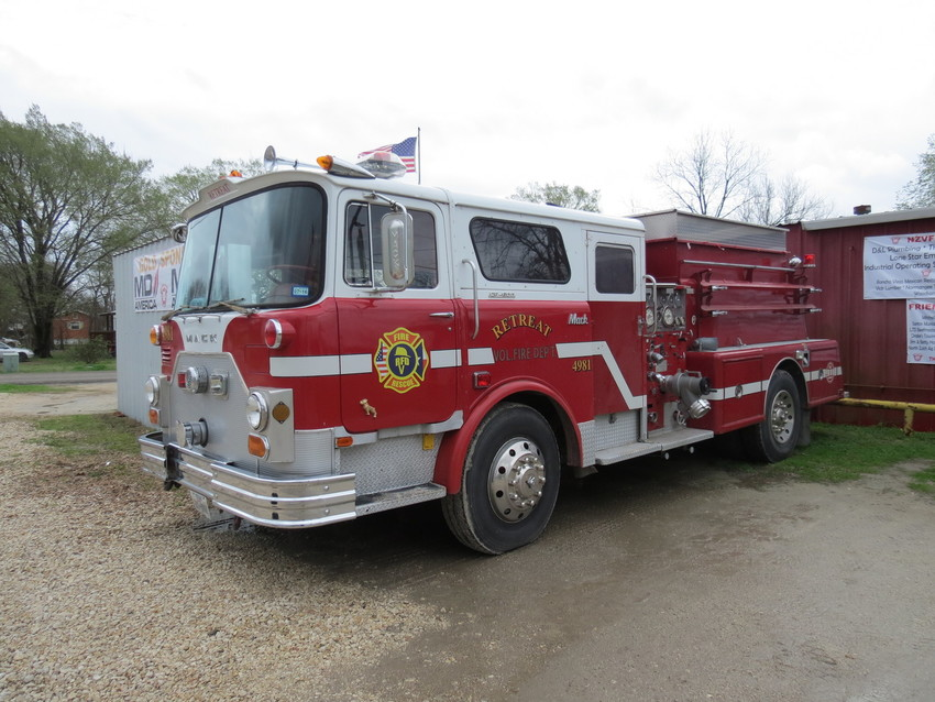 The North Zulch Volunteer Fire Department recently received the gift of a pumper truck from the Retreat Fire Department.