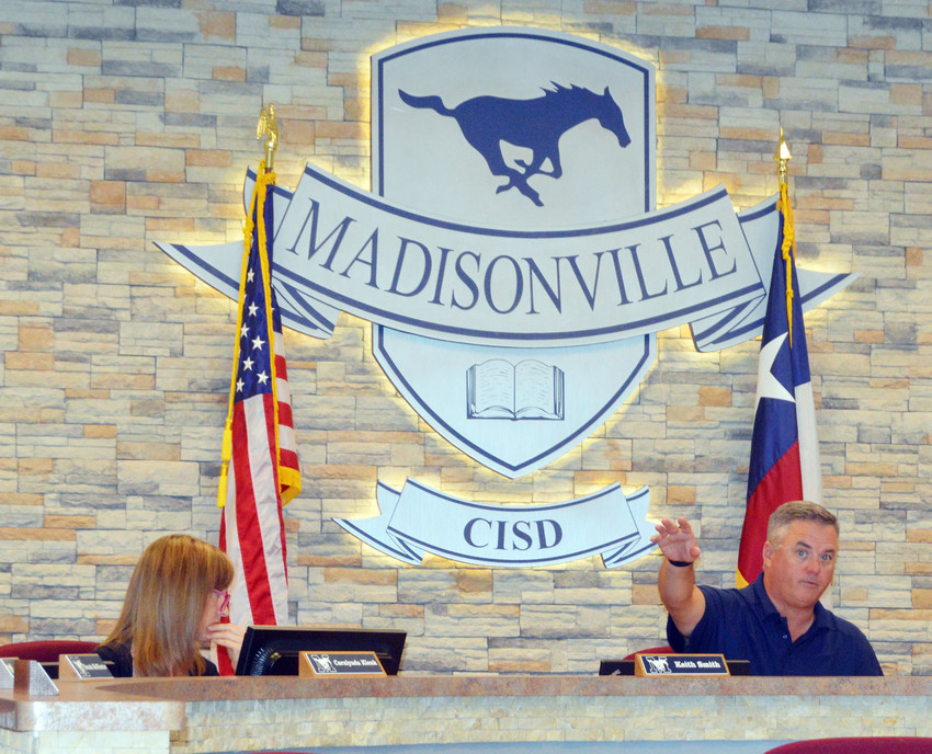 Madisonville CISD Superintendent Keith Smith leads the discussion at the first school board meeting since June on Monday evening.