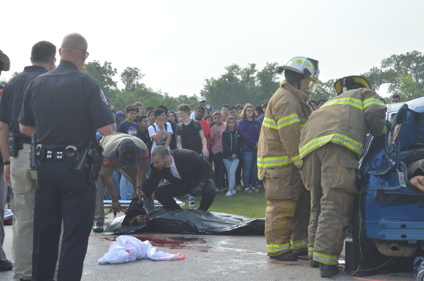 """Madisonville High School Senior, Tyana Brown, portrayed the deadly reality of the consequences of drunk and distracted driving to her classmates in Madisonville Consolidated School's production of """"Shattered Dreams"""", a nationwide program to bring awareness to the dangers of driving under the influence."""