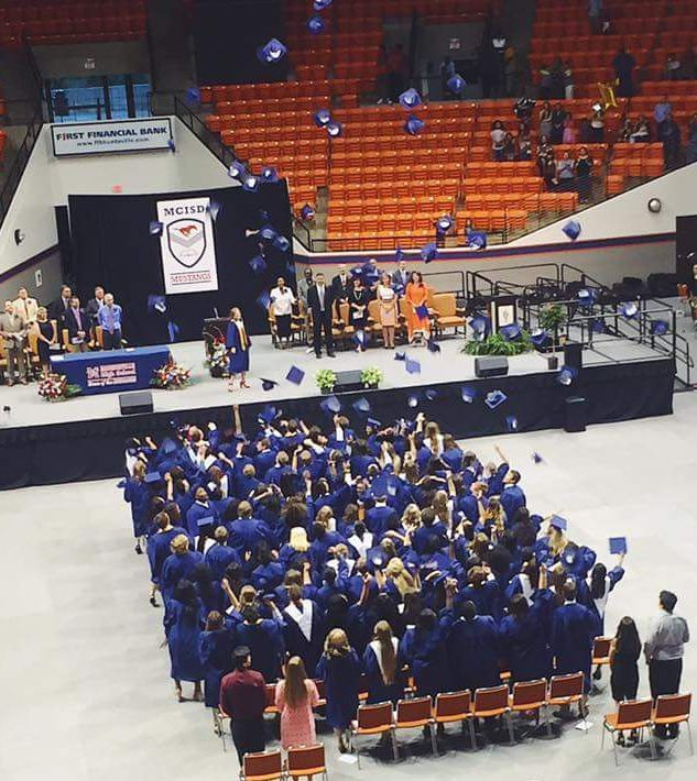 Madisonville High School Graduating Class walk the stage in the Bernard G. Johnson Coliseum at Sam Houston State University in Huntsville, Texas on Thursday, May 25, 2017.