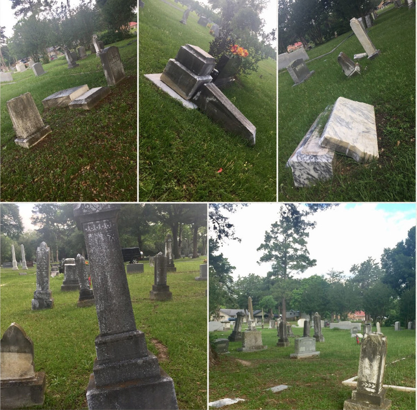 Pictures show the current condition of the cemetery.  It is the hope of the new Board to correct these issues and restore the beauty of the cemetery to provide a comforting place to visit their loved ones.