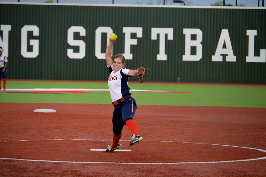 Emily Blakely delivers a pitch earlier in the season.  On Thursday, the Lady Mustangs will have their hands full against seventh ranked, Lorena.