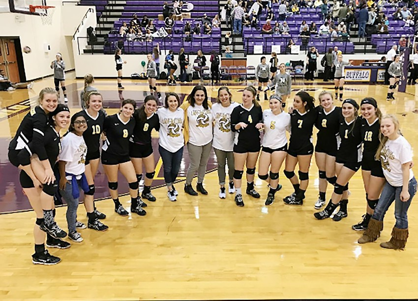 The North Zulch Bulldog volleyball squad poses after defeating Neches in the first round of the playoffs last Tuesday.